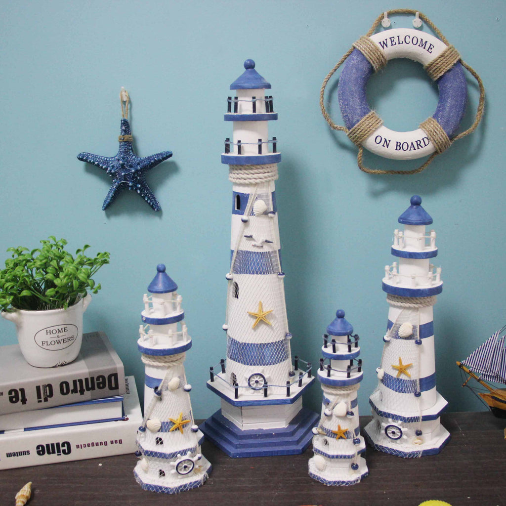 Stripe Lighthouse Wooden Handicraft