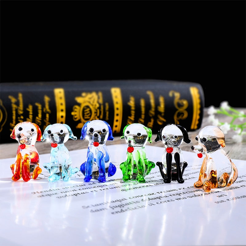 6 Miniature Glass Figure Dog