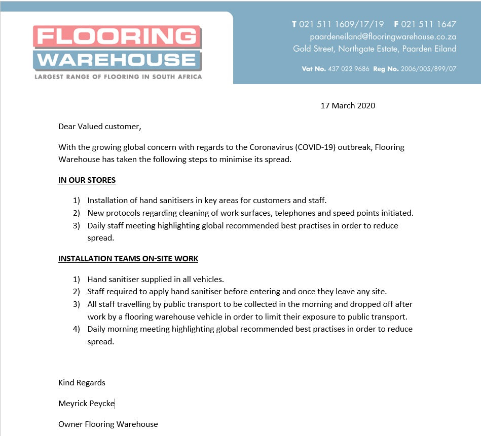Flooring Warehouse COVID-19 Letter