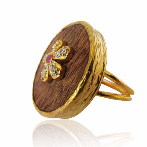 Cynthia Wooden and Gold Plated Ring