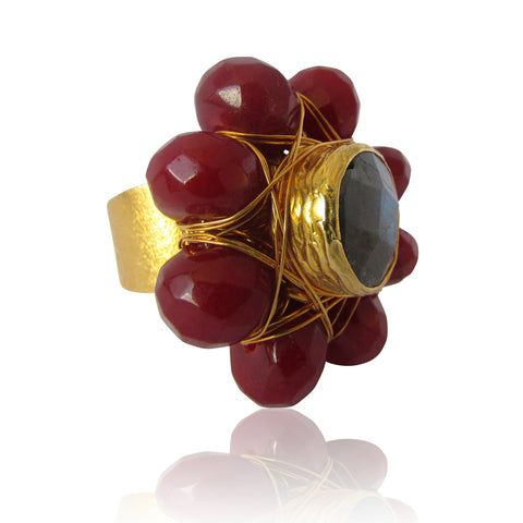 Forte Gold Plated Red and Grey Gemstone Ring