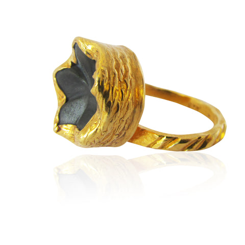 Black Iris Gold Plated Ring