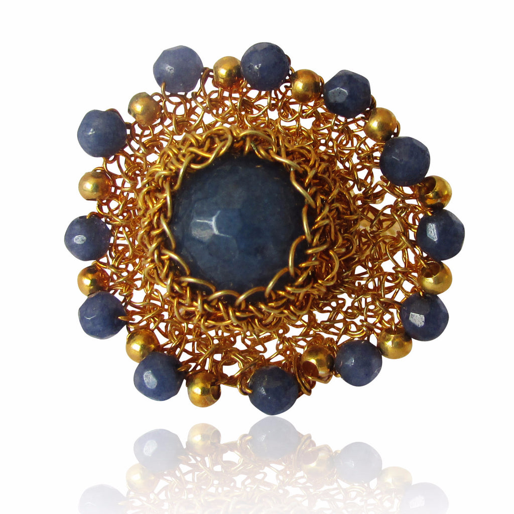 Zaria Gold Plated Weave and Blue Gemstone Ring
