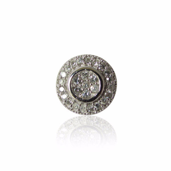 Grazia Earrings Cubic Zirconia Pavé Circle Sterling Silver Earrings