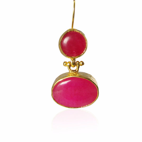 Fuchsia Flush Gold Plated Sterling Silver Earrings