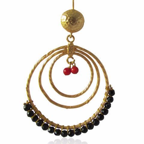 Amira Gold Plated Black and Red Bead Hoop Earrings