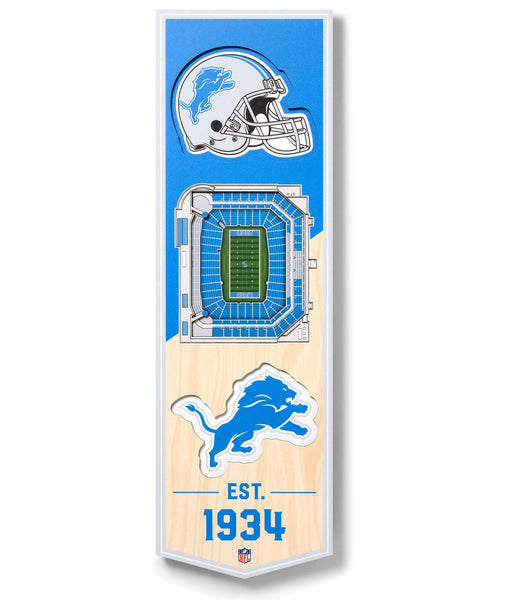 NFL DETROIT Lions 3D STADIUMView 6 x 19 Banner - Ford Field - Detroit Historical Society