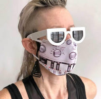303 Face Mask, Bass Synth Print. Fitted Two Layer Cloth Face Cover