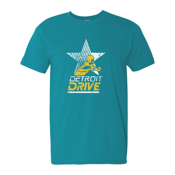 Detroit Drive Vintage Football T-Shirt - Tropical Blue - Detroit Historical Society