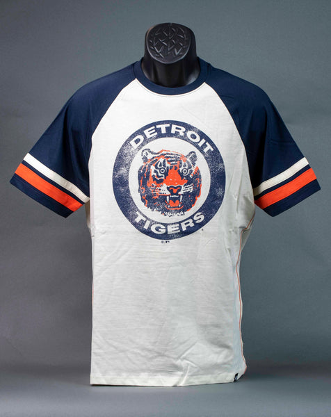 Detroit Tigers Vintage T-Shirt Tiger Head Logo w/Navy Sleeves 47 Brand
