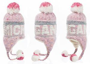 Michigan Multi Pink Fuzzy Pom Pom knit Hat - Detroit Historical Society