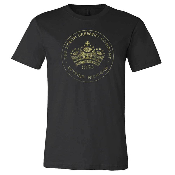 Mens Stroh's Crown Logo T-shirt (Black) - Detroit Historical Society