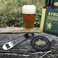 Stroh's Pint Pack Bundle (Pint Glass, Bottle Opener, Coaster) - Detroit Historical Society