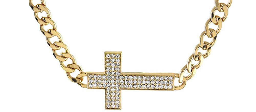 Iced Out Sideways Cross Pendant