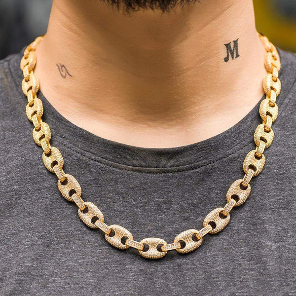 Iced Out Chain <br> 12mm Gucci Link <br> (18K Gold)