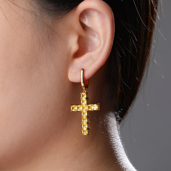 Iced Out Earring <br> Cross <br> (18K Full Gold)
