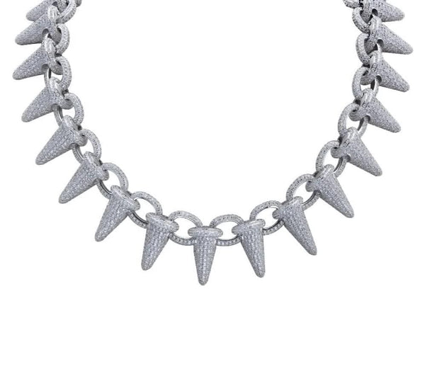 Iced Out Chain <br> Lil Uzi Spiked <br> (White Gold)