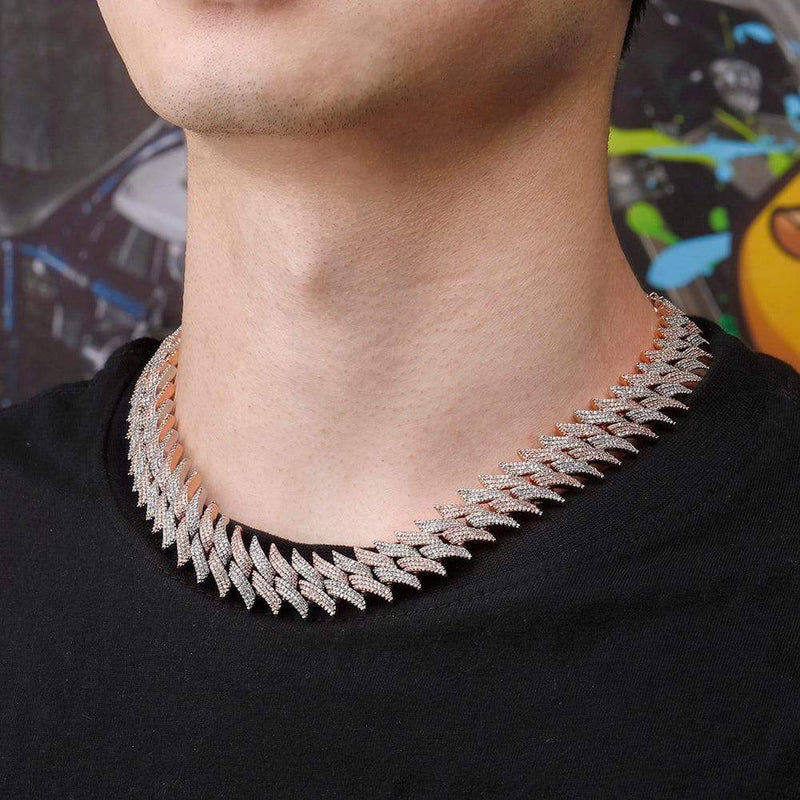 Iced Out Chain <br> 20mm Spiked Cuban <br> (Rose Gold)