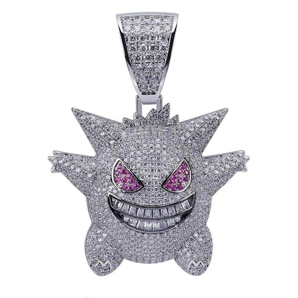 Iced Out Pendant <br> Gengar <br> (White Gold)