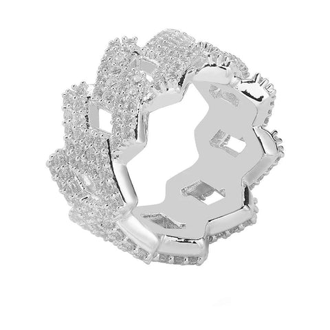 Iced Out Ring <br> Prong Cuban Link <br> (White Gold)