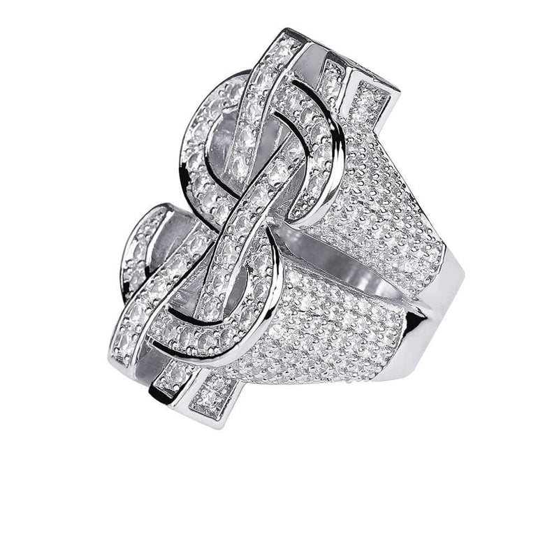 Iced Out Ring <br> Dollar Sign <br> (White Gold)