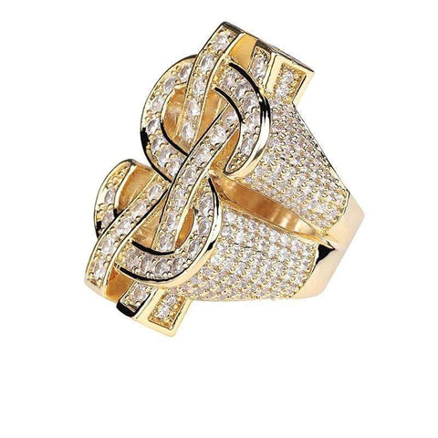 Iced Out Ring <br> Dollar Sign <br> (14K Gold)