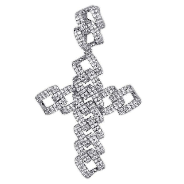 Iced Out Pendant <br> Cuban Cross <br> (White Gold)