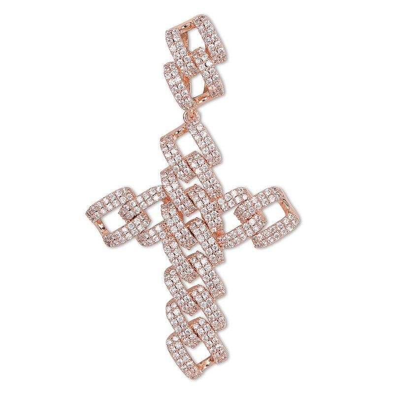 Iced Out Pendant <br> Cuban Cross <br> (Rose Gold)