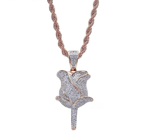 Iced Out Pendant <br> Rose Flower <br> (Rose Gold)