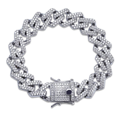 Prong Set Cuban Link Bracelet