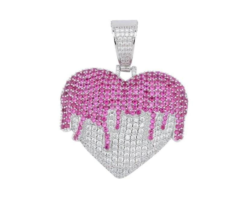 Iced Out Dripping Heart Pendant