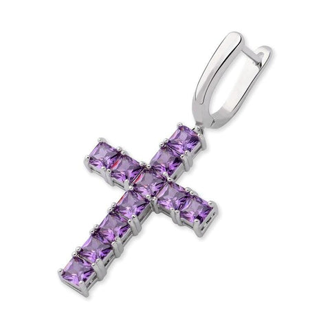 Iced Out Earring <br> Cross <br> (White Gold Purple)