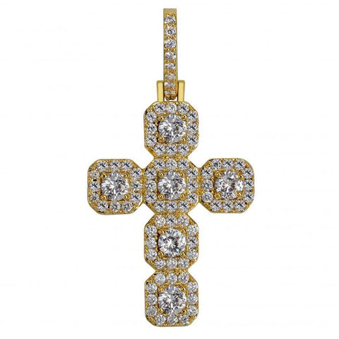 Iced Out Pendant <br> Large Cross <br> (18K Gold)