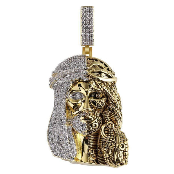 Iced Out Pendant <br> SteamPunk Jesus <br> (18K Gold)