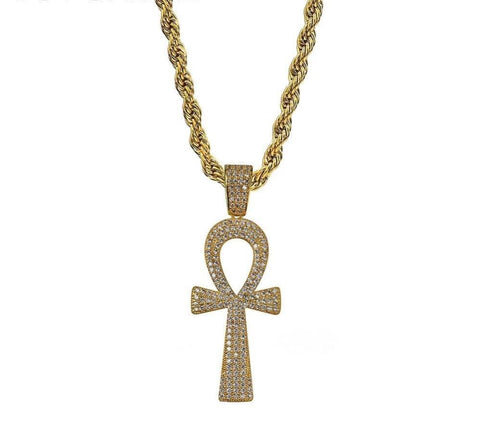 Iced Out Pendant <br> Ankh Key <br> (18K Gold)