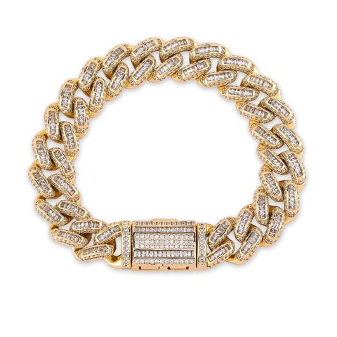 Iced Out Baguette Cuban Link Bracelet