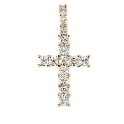 Iced Out Pendant <br> Baguette Cross <br> (18K Gold)