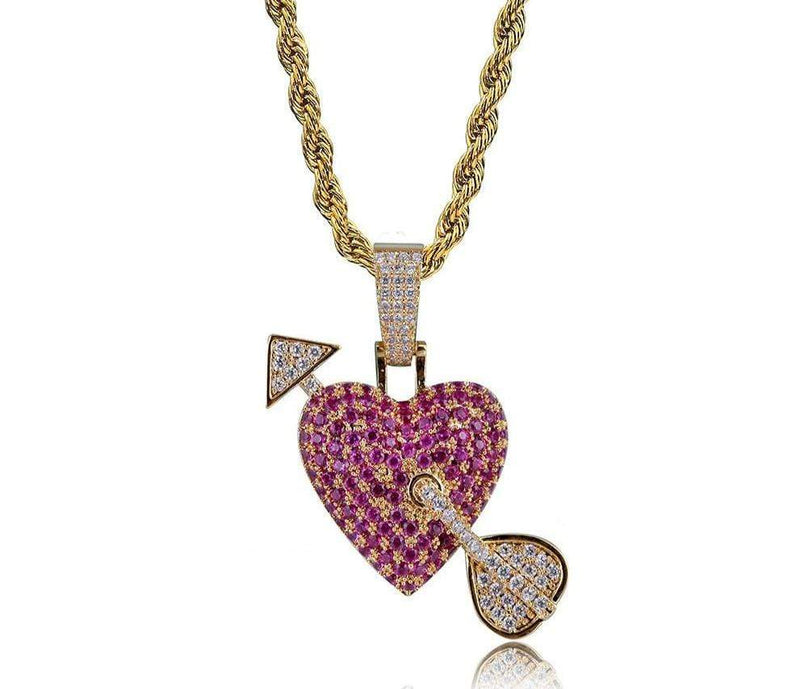 Arrow Through Heart Iced Out Pendant