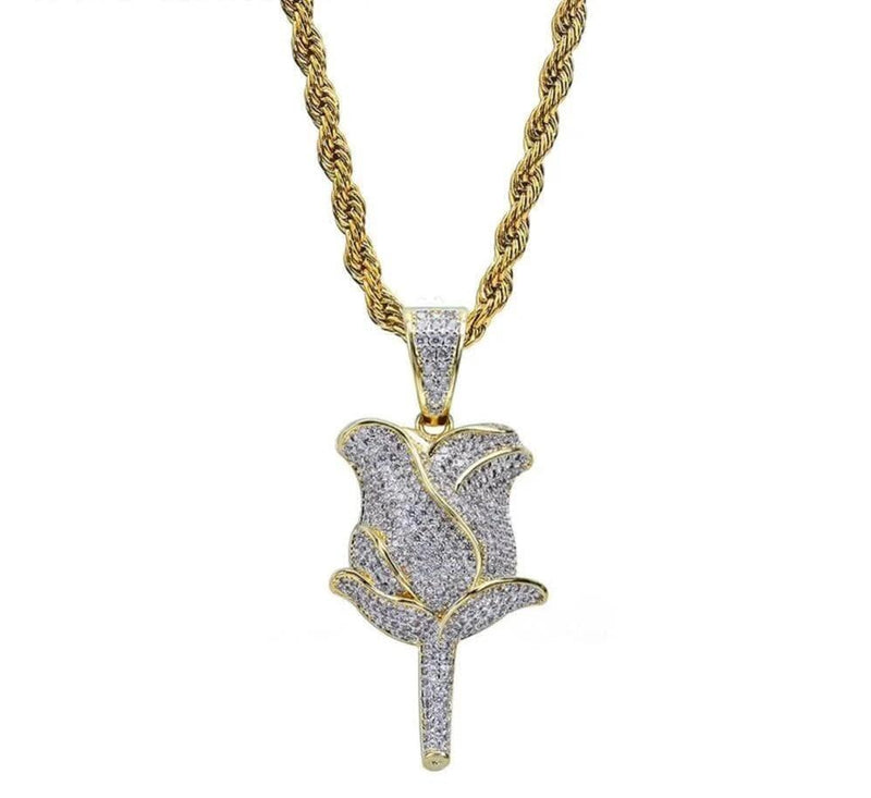 Iced Out Pendant <br> Rose Flower <br> (18K Gold)