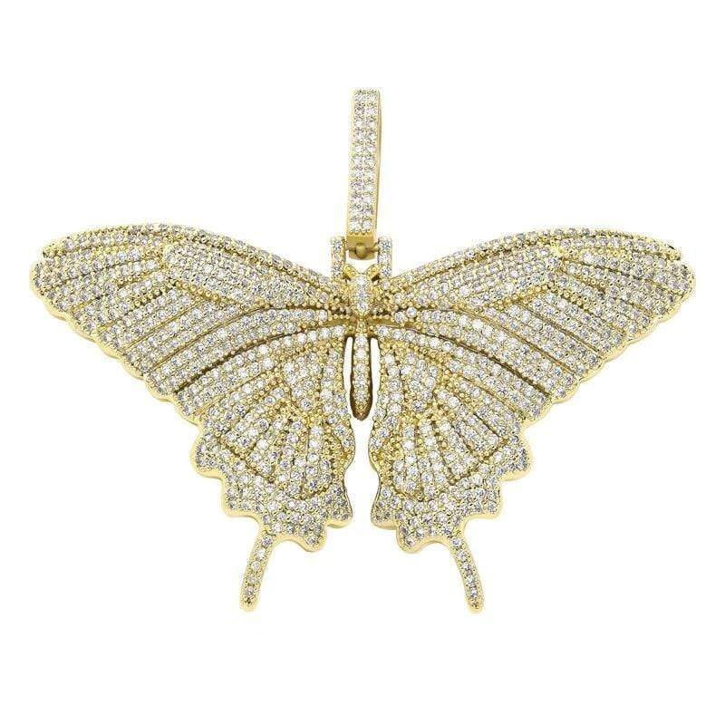Iced Out Gold Butterfly Pendant