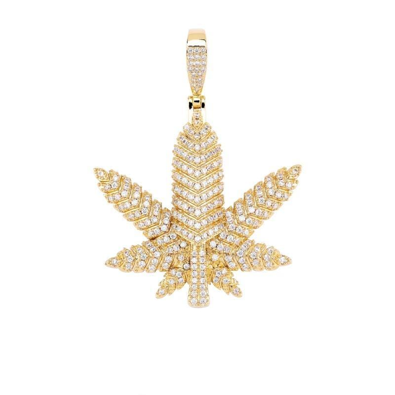 Iced Out Pendant <br> Weed Leaf <br> (Full 14K Gold)