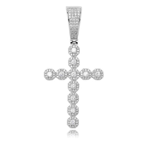Iced Out Pendant <br> Diamond Cross <br> (White Gold)