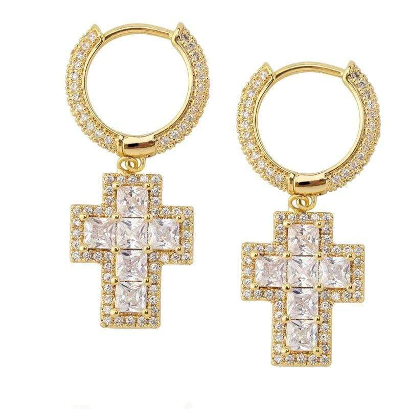 Iced Out Earrings <br> Baguette Cross <br> (18K Gold)