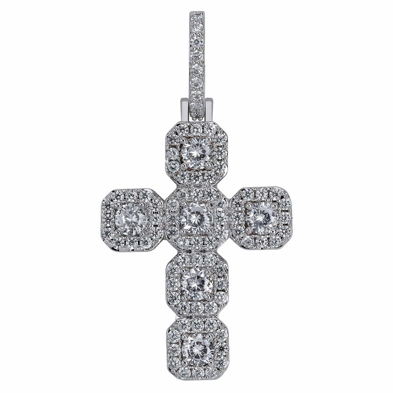 Iced Out Pendant <br> Large Cross <br> (White Gold)