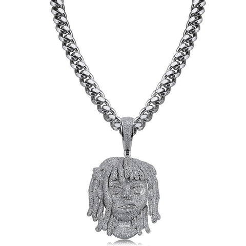 Iced Out Pendant <br> Lil Pump <br> (White Gold)