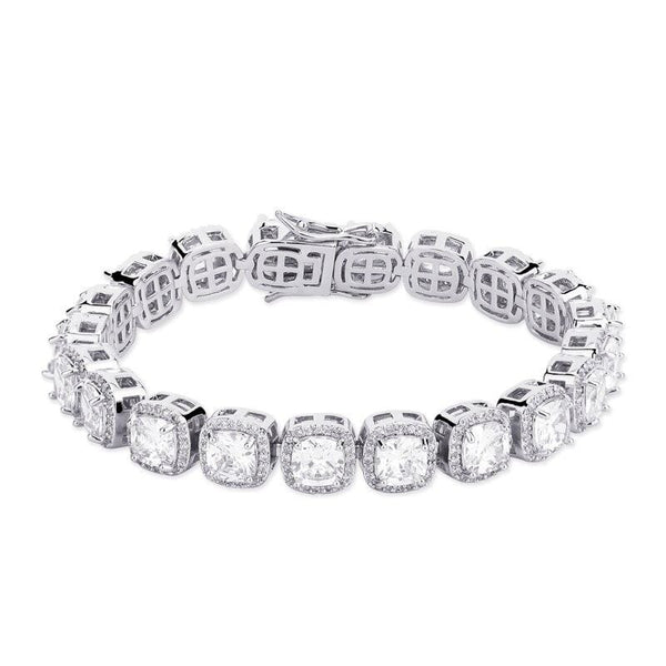 Iced Out Bracelet <br> Clustered Tennis <br> (White Gold)