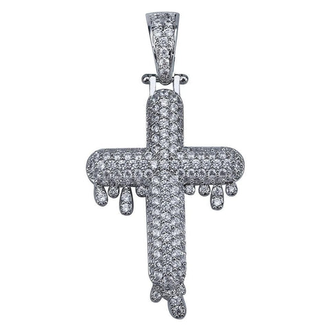 Iced Out Dripping Cross Pendant