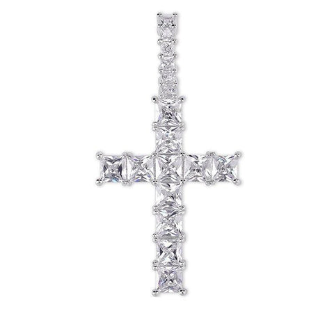 Iced Out Pendant <br> Baguette Cross <br> (White Gold)