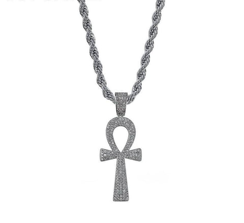 Iced Out Pendant <br> Ankh Key <br> (White Gold)