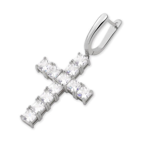 Iced Out Earring <br> Cross <br> (White Gold)